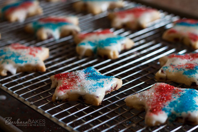 4th of July Lemon Cranberry Shortbread Cookies