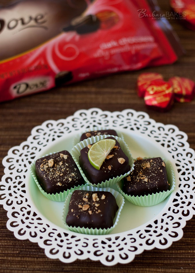 Key Lime Cheesecake Bites covered in Dove Dark Chocolate from Barbara Bakes.