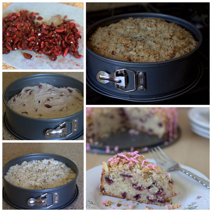 Collage of how to make a Fresh Cherry Almond Streusel Coffee Cake