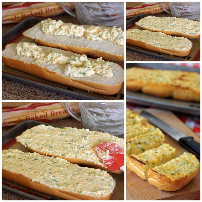 Collage of making Black Angus Three Cheese Garlic Bread