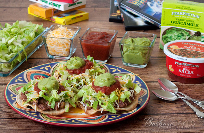 Quick Black Bean and Green Chili Tostada recipe from Barbara Bakes