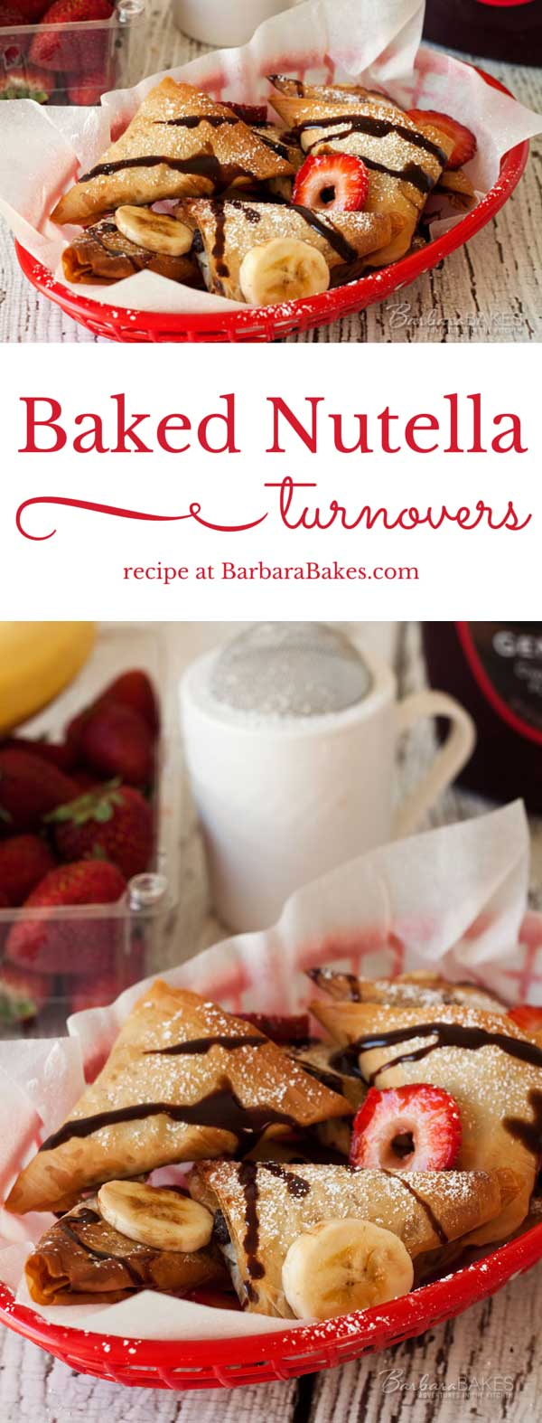 Collage of Baked Nutella Turnovers - easy to make with ready to use phyllo dough.