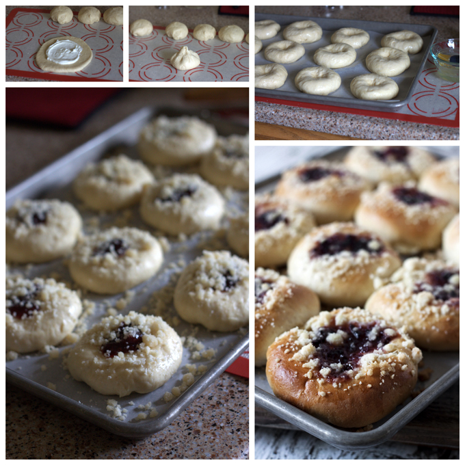 Collage of making Plum and Quark Filled Kolaches