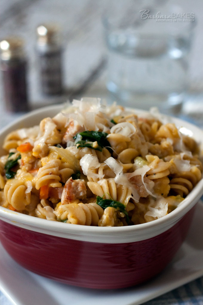 Rotini Pasta in a Creamy Butternut Squash Sauce with Chicken Sausage and Baby Spinach Recipe from Barbara Bakes
