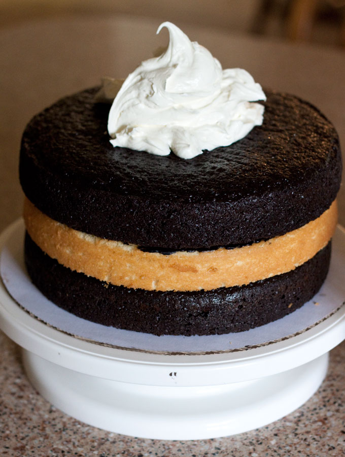 Triple Layer Black and White Cake