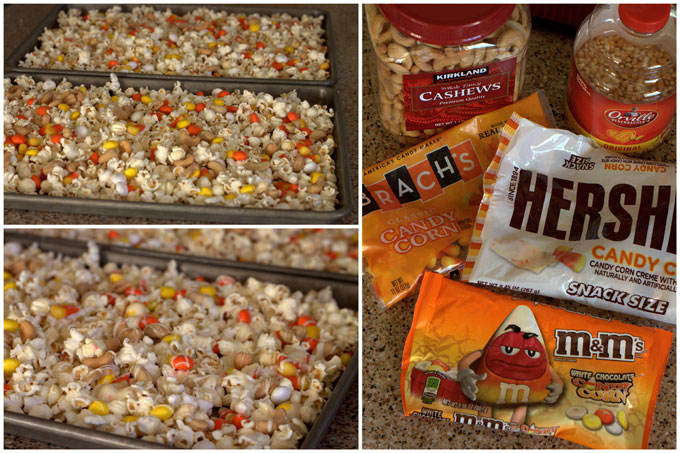 Collage of making Candy Corn Popcorn