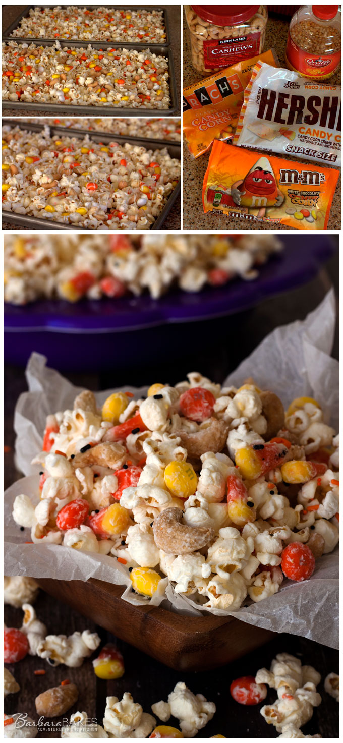 Colorful, fun, craveably delicious Candy Corn Popcorn from Barbara Bakes