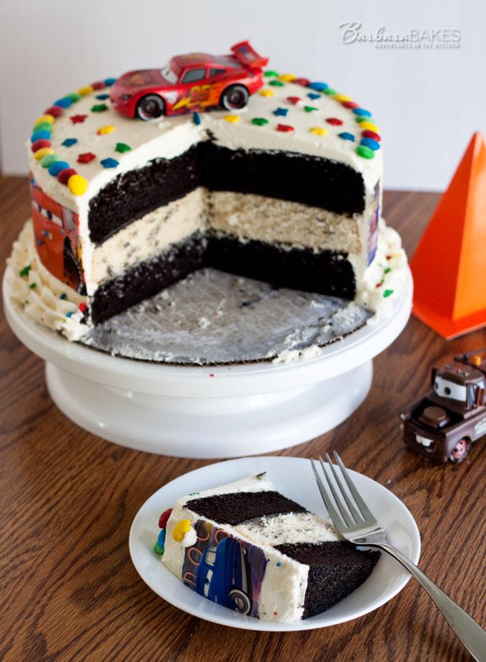 Triple Layer Black and White Cars Birthday Cake