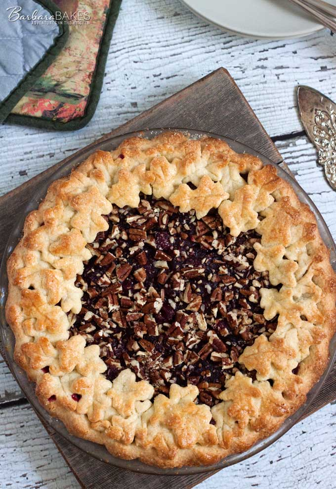 Cranberry Pecan Pie - an easy to make pie made with fresh cranberries, crunchy pecans and a sweet pie dough.