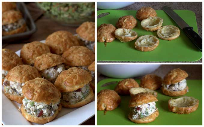 Collage of making Gougeres Sandwiches - Barbara Bakes