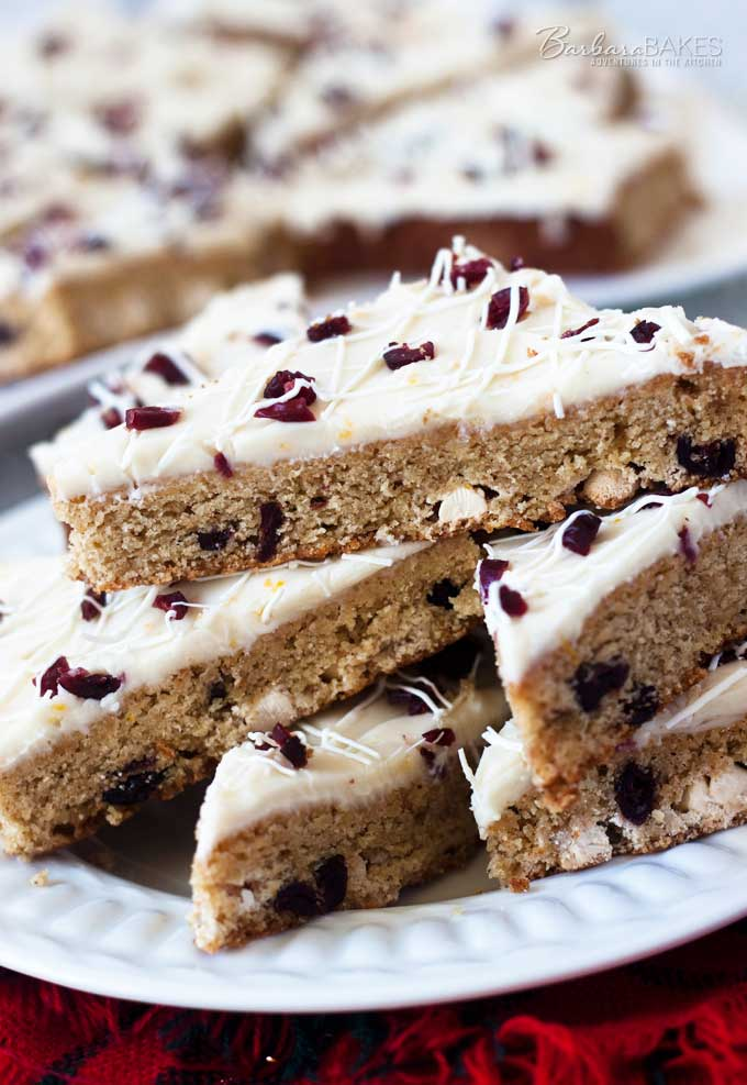 White Chocolate Cranberry Orange Bars - if you love Starbucks Cranberry Bliss Bars, you\'ll love these.
