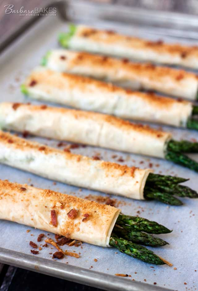 Crispy Phyllo, Parmesan, Bacon Asparagus Bundles