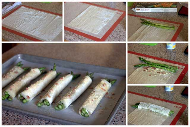 Collage of How to Make Phyllo, Parmesan, Bacon Asparagus Bundles
