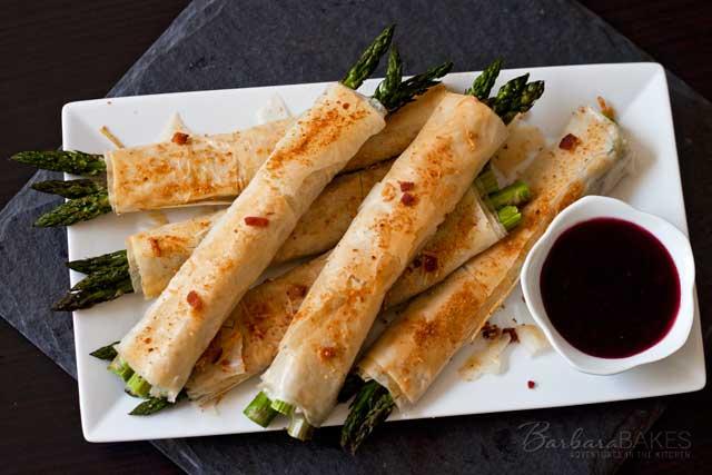 Phyllo, Parmesan, Bacon Asparagus Bundles from Barbara Bakes
