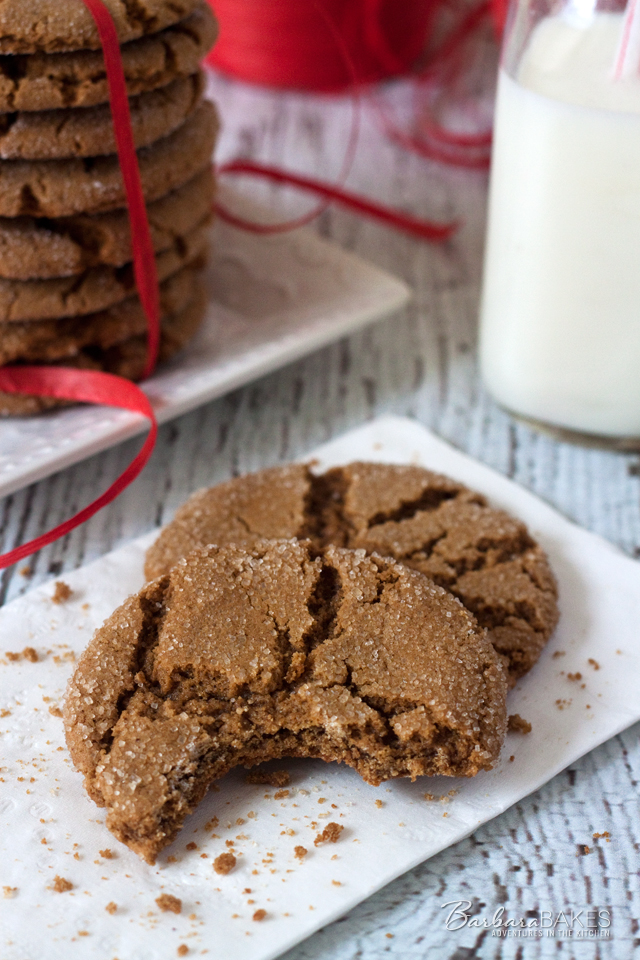 Soft gingersnap cookies made with molasses and the warm winter spices ginger and cinnamon.