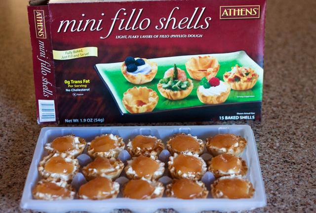 No-Bake Orange Sunrise Cheesecake Bites in crispy Ahtens Mini Fillo Shells