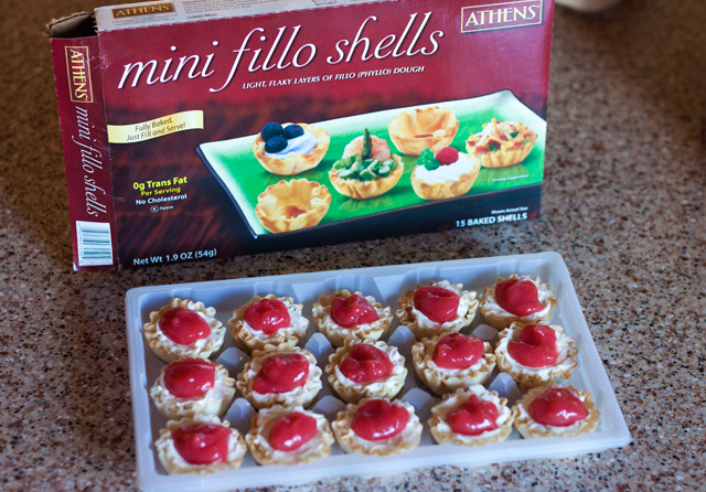 No-Bake Strawberry Margarita Cheesecake Bites in crisp mini fillo shells.