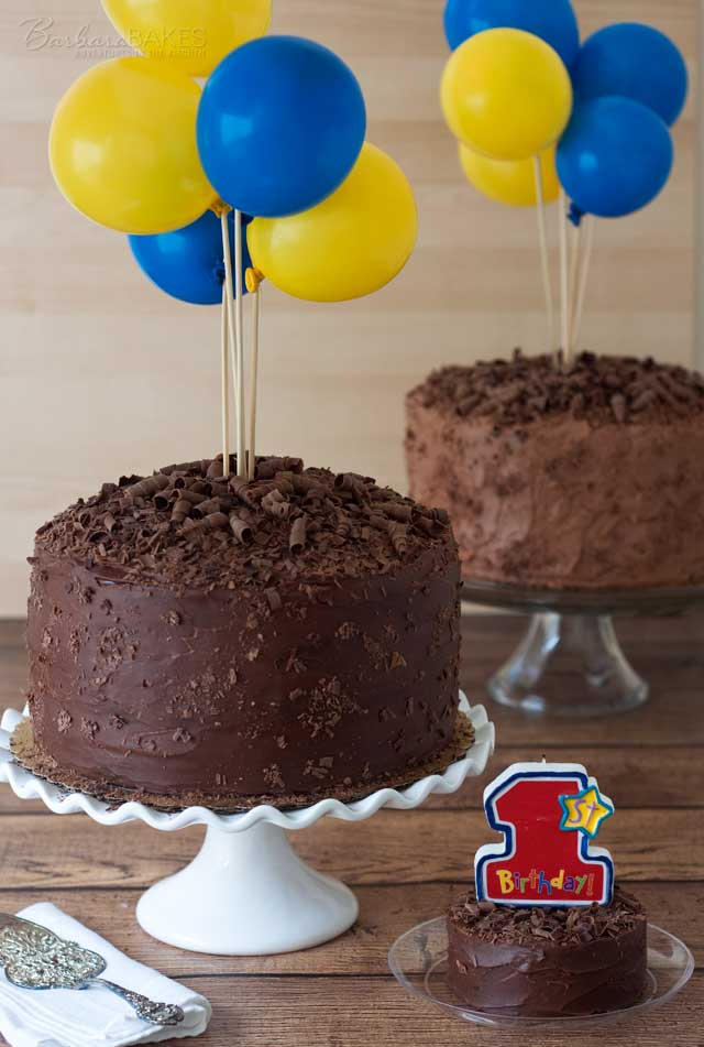 Two Triple Layer Chocolate Cakes with a Coconut Cream Cheese Filling and an easy to make Smash cake.