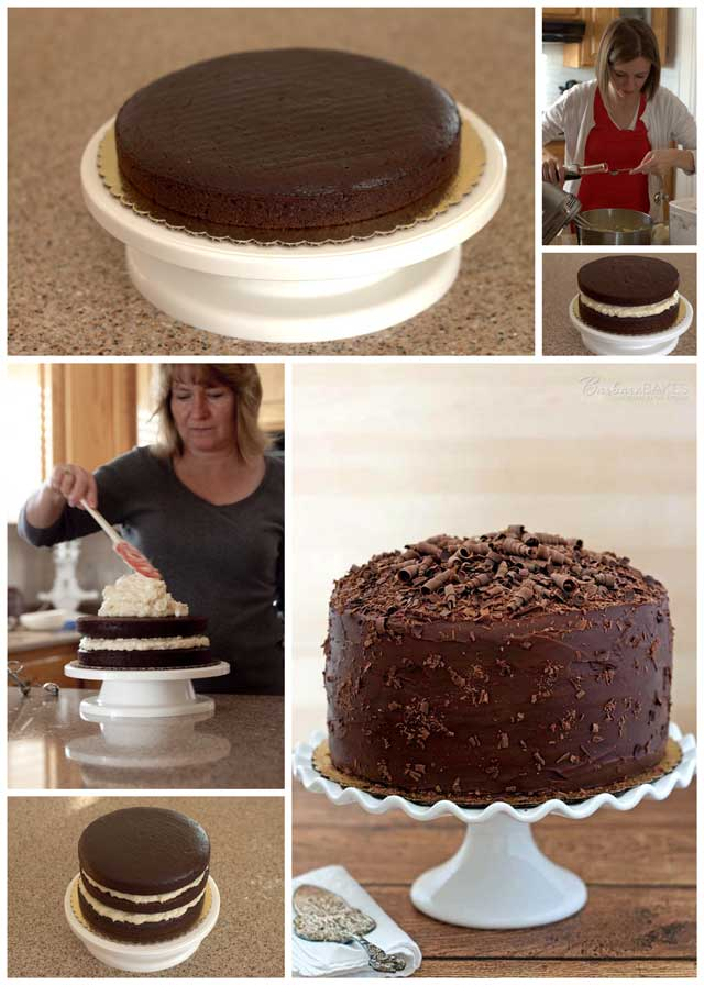 Collage of making a Triple Layer Chocolate Cake with a Coconut Cream Cheese Filling