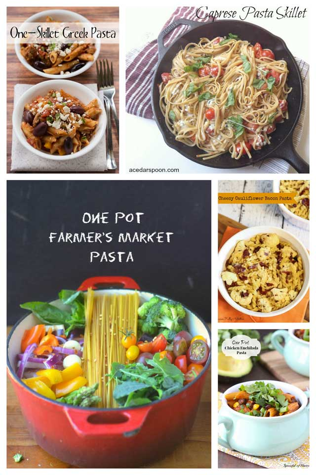 Collage of Healthy One Pot Pasta Recipes