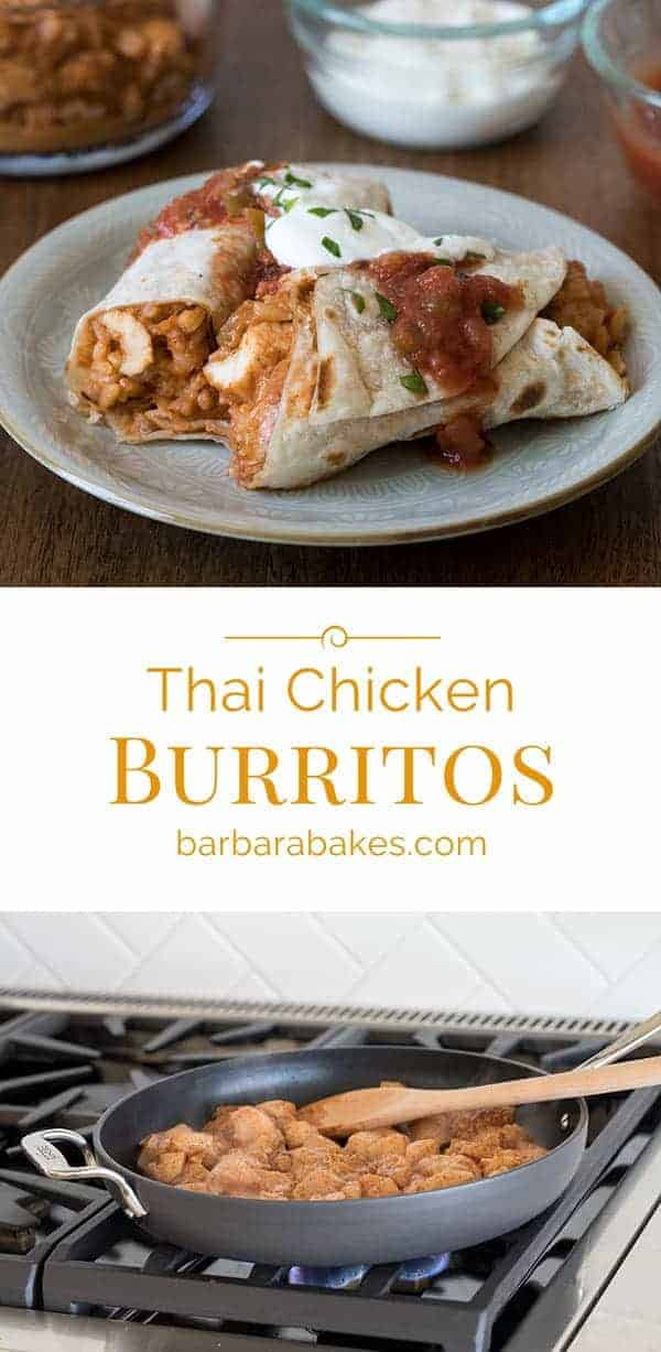 This Easy Thai Chicken Burritos recipe was a runner up in the Pillsbury Bake-off in 2007. We\'ve been making it ever since. It\'s delicious, super easy, and you probably already have all the ingredients on hand right now.