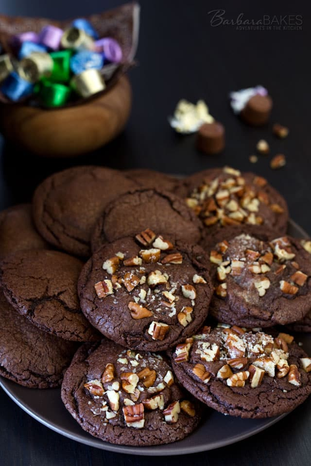 These prize-winning Chocolate Caramel Rolo Cookies are a family favorite. They\'re an easy to make, rich, fudgy chocolate cookie stuffed with a Rolo candy.