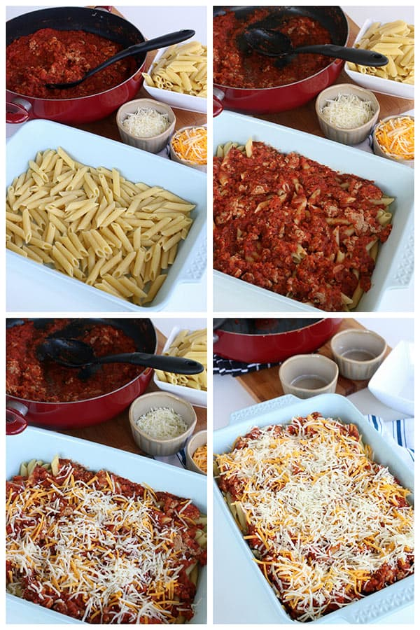 Chicken Sausage Pasta Bake layers