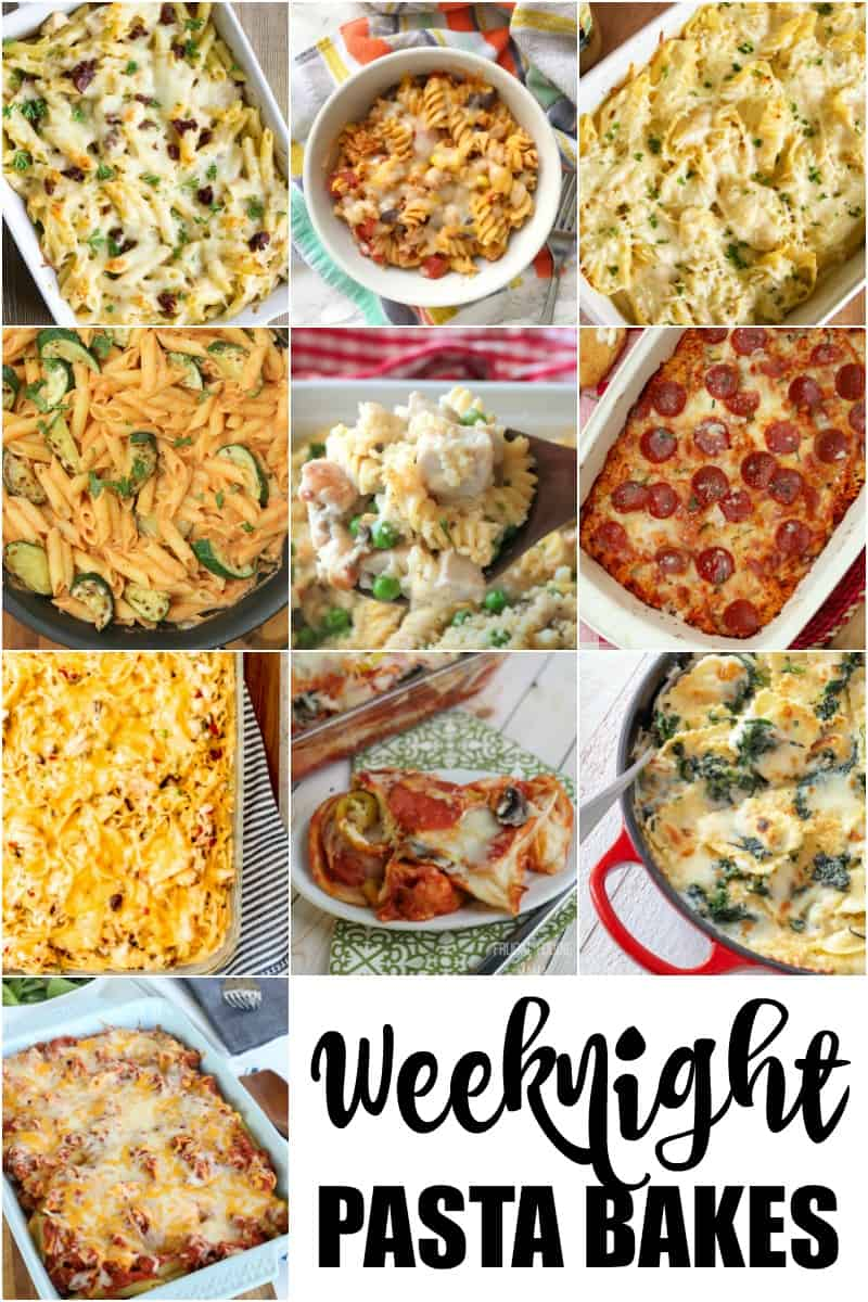 Pinterest Collage Image of Weeknight Pasta Bakes