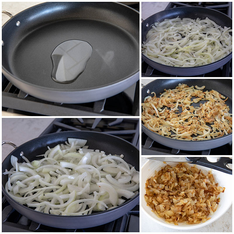 collage of Caramelizing onions step by step photos