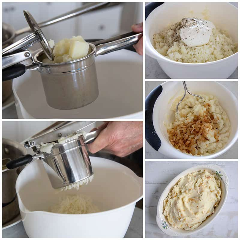 Mashing potatoes step by step photo collage for Caramelized Onion Mashed Potatoes