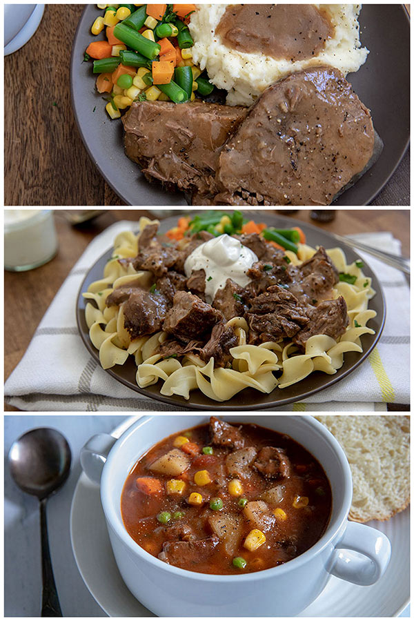 collage of round steak and gravy, round steak and noodles and round steak beef stew