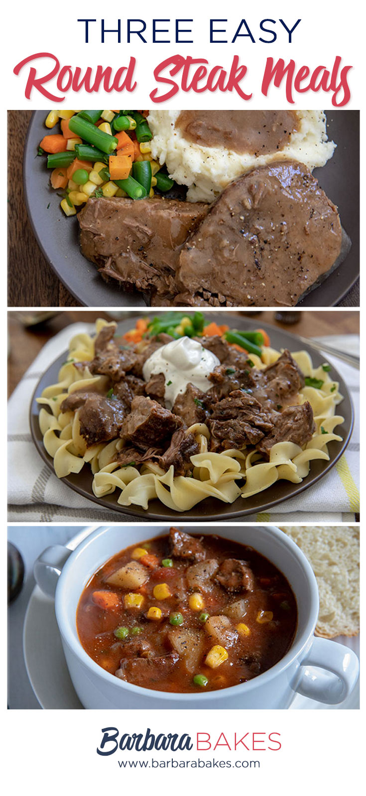 collage of 3 Easy Round Steak Meals