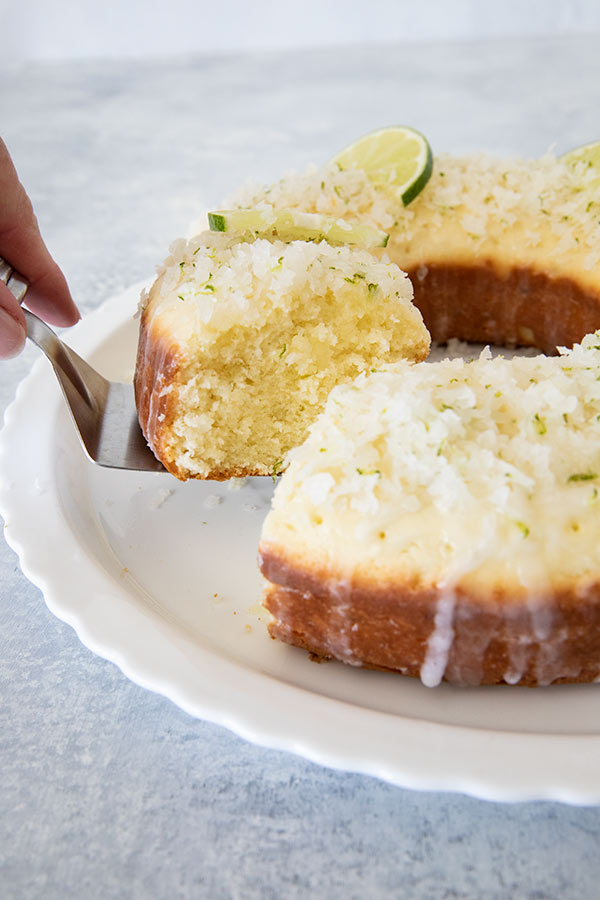 Slicing Coconut Lime Coffee Cake