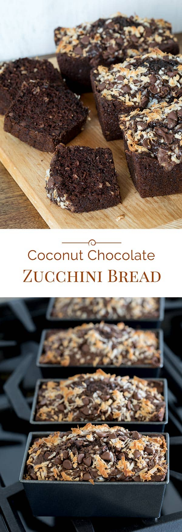 This Coconut Chocolate Zucchini Bread studded with chocolate chips is so rich, moist and delicious no one will ever know that the secret ingredient is zucchini.