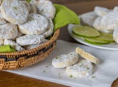 A Meltaway is a crumbly cookie that melts in your mouth. These Lime Meltaways are a not-too-sweet cookie with a tart lime flavor dusted with powdered sugar.