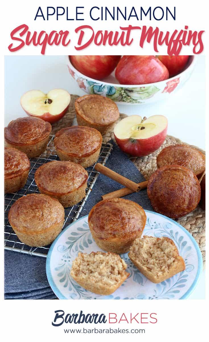 Apple Cinnamon Sugar Donut Muffins on a rack