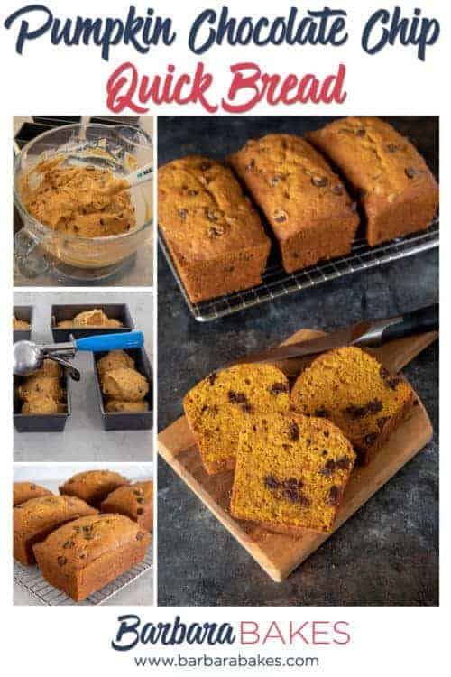 Pinterest collage of Pumpkin Chocolate Chip Bread - An easy quick bread recipe from BarbaraBakes.com