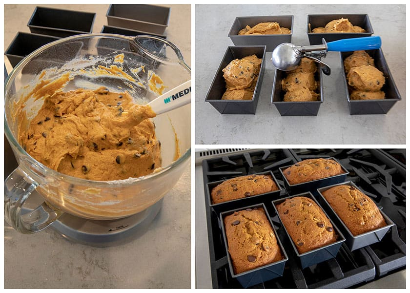 collage of making Pumpkin Chocolate Chip Bread