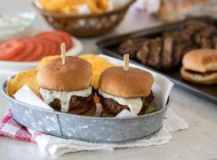 2 Southwest Chipotle Burger Sliders served in a basket