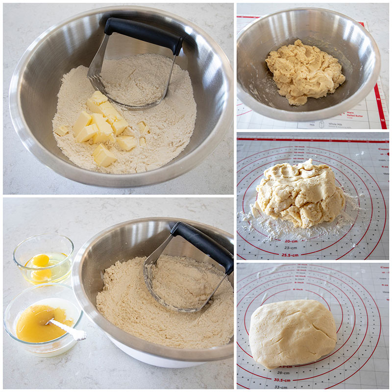 collage showing the making the of the dough for Lemon Glazed Christmas Wreath Cookies