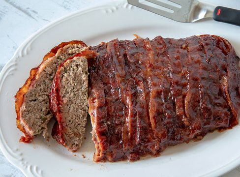 sliced BBQ Bacon Pioneer Woman Meatloaf on a platter