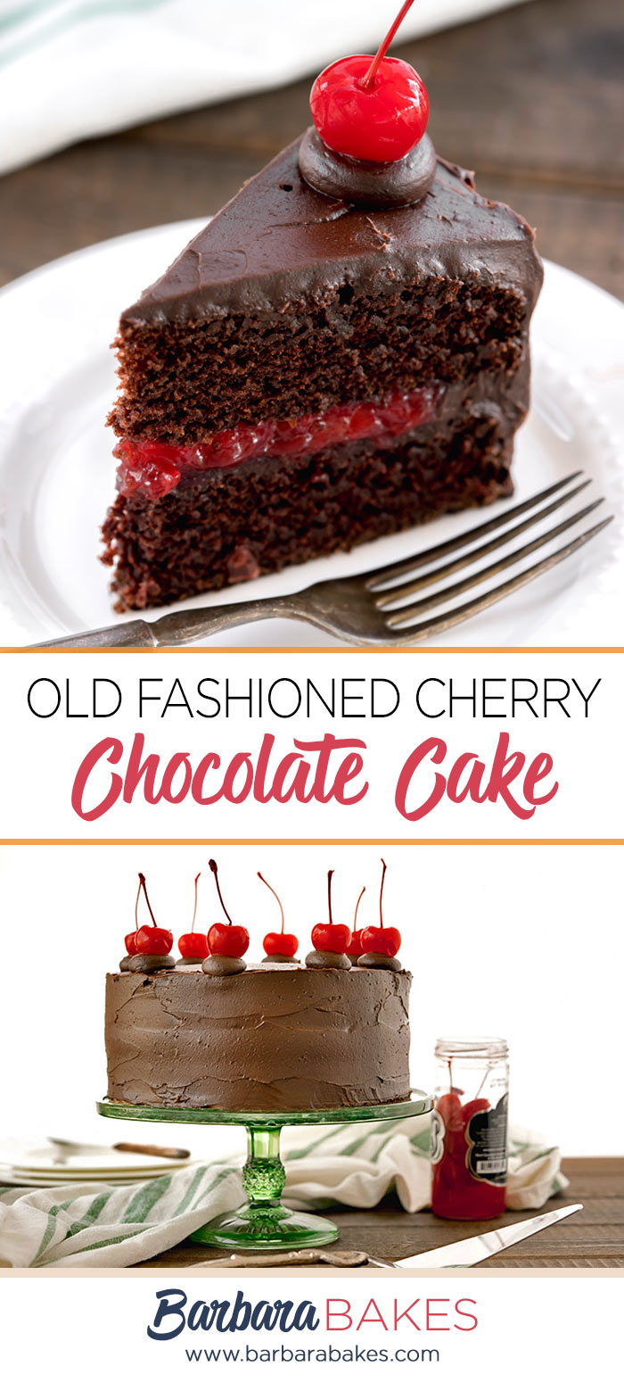 A collage of Old-Fashioned-Cherry-Chocolate-Cake-Barbara-Bakes