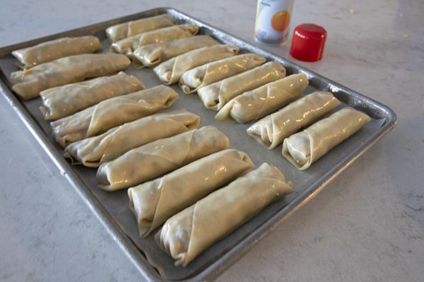 Southwest-Egg-Rolls on a sheet pan before baking