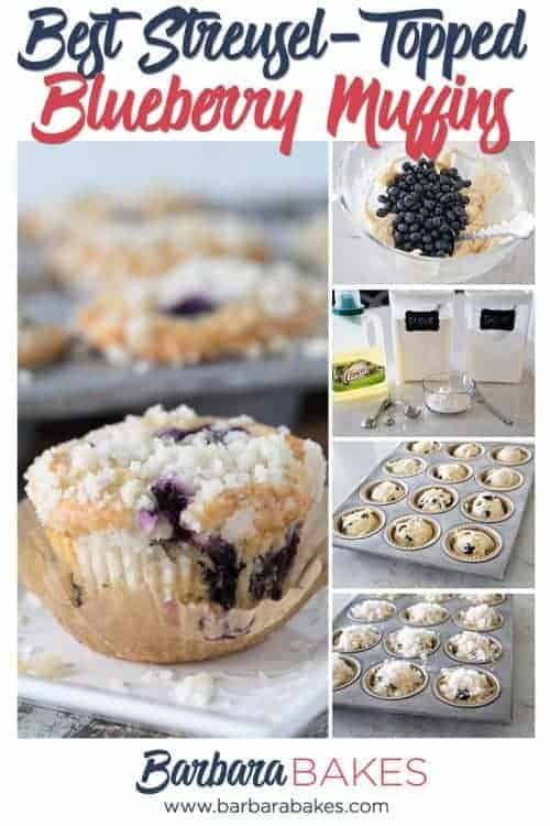 Pinterest collage for the Best Easy Blueberry Muffins with Streusel Topping, with process shots