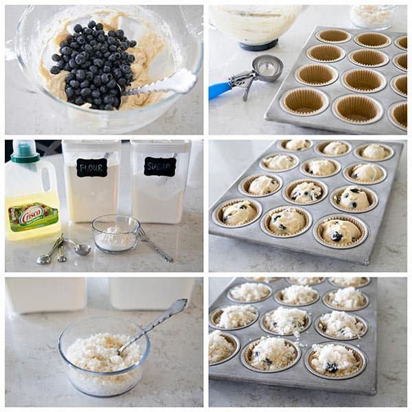 collage of making the best Blueberry Streusel Muffins