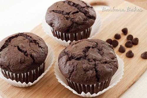 Whole Wheat Chocolate Chocolate Chip Muffins