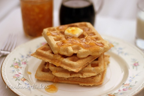Light and Fluffy Whole Wheat Waffles are tender on the inside and crispy, golden outside. They\'re easy to whip up with ingredients I always have on hand.