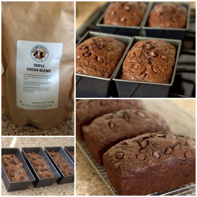 Collage of making Chocolate Chocolate Chip Zucchini Bread