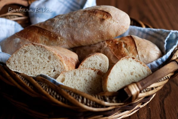a basket of cut french bread