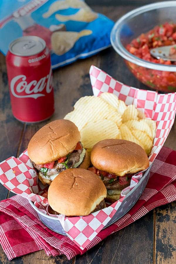 This Bruschetta Turkey Burger Sliders is a perfect burger for your next tailgating party.